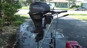 2003 tohatsu 9 9hp shortshaft 4 stroke tiller outboard motor youtube