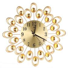 2017 vintage metal art wall clock luxury diamond flower large wall