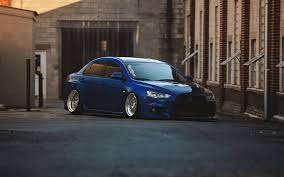 mitsubishi lancer wallpaper iphone mitsubishi lancer evolution x blue tuning car parking 6978488