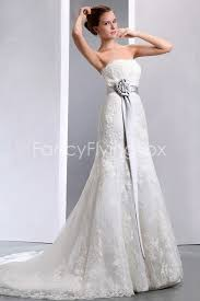 silver wedding dresses charming lace mermaid wedding dress with silver sash at