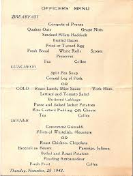 Titanic Second Class Menu by Wwii Letters To Wilma 11 01 2010 12 01 2010
