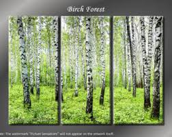 framed 3 panel tree green forest giclee canvas