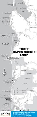 map of oregon lighthouses pacific coast route three capes loop oregon road trip usa