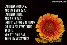 each new morning and each new thanksgiving wish