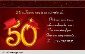 50th wedding anniversary greetings congratulations on golden anniversary free milestones ecards
