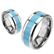 comfort fit ring grande inlay turquoise center band and tungsten carbide