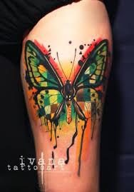 watercolor funky butterfly design for half sleeve by ivana
