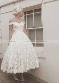lace tea length ball gown short sleeve off the shoulder covered