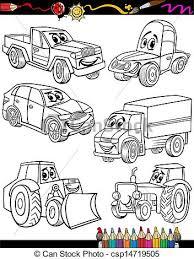 vector clipart cartoon vehicles coloring book