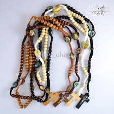 religious necklaces wholesale mix color wooden rosary necklace jesus cross