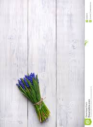 Wooden Table Top View Spring Flowers Bouquet On Wooden Table Top View Copy Space