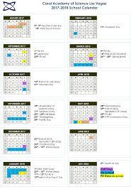 school calendar 2017 2018 coral academy of science las vegas