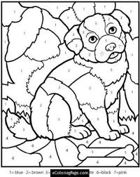 color numbers dog coloring kids color number