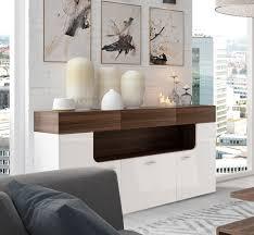 Wohnzimmer Nussbaum Sideboard Anrichte Kommode 3trg Weiß Matt Weiß Hochglanz