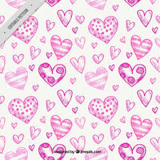 hearts sketches pattern vector free download