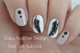 simple and elegant feather design nail art tutorial youtube
