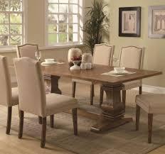 rectangular pedestal coffee brown dining table with pedestal base