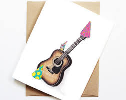 guitar birthday card etsy