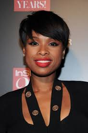 short haircuts edgy razor cut jennifer hudson with a choppy pixie matte red lips and dramatic