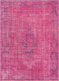 Magenta Area Rug 10 X 13 Overdyed Magenta Knotted Wool Rug
