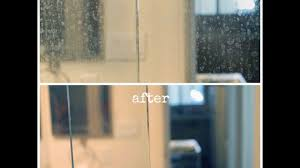 how do i clean soap scum from glass shower doors how to remove hard water marks from glass shower doors youtube