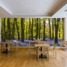 living room trees purple flowers wall mural forest trees wallpaper living room