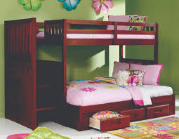 Bunk Beds For Three Bedroom Brown Mahogany Bunk Bed Which Is Having Three Parallel