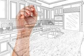 Architect Kitchen Design Hand Of Architect Drawing Detail Of Custom Kitchen Design Stock