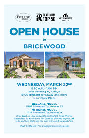 bricewood open house with bellaire homes and m i homes platinum