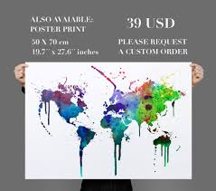 Watercolor Map Of The World by World Map Wall Decal Watercolor Vinyl Moonwallstickers Com