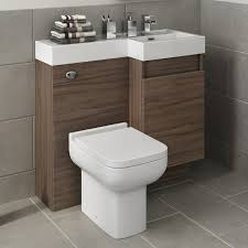 toilet and sink vanity unit walnut bathroom furniture back to wall