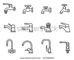 Bathroom Symbols Faucet Vector Icon Tap Sign Bathroom Stock Vector 670386568