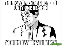 If You Know What I Mean Meme - i think women are here for only one reason you know what i mean
