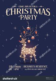 reindeer christmas party invitation card template stock vector