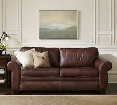 Sleeper Leather Sofa Pearce Leather Deluxe Sleeper Sofa Pottery Barn