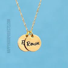 Stamped Jewelry Hand Stamped Jewelry Tiny Brass Disc Charm Necklace