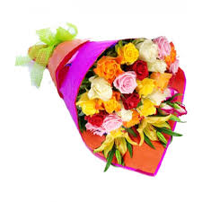 colored roses bouquet of one dozen mixed color roses pasay flora