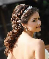 wedding updo hairstyles for long curly hair with headband and