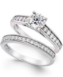 diamond wedding ring sets for trumiracle diamond bridal engagement ring set in 14k white gold 1