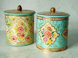 vintage floral tin storage canisters vintage canisters pair of