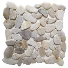pebble tile natural stone tile the home depot white