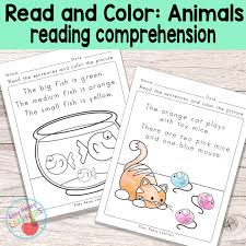 animals read and color reading comprehension worksheets easy
