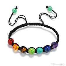 beaded chain bracelet images In stock free dhl 13 seven color rainbow healing reiki stone 8mm jpg