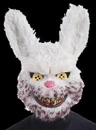 creepy mask snowball creepy evil bunny rabbit doll bloody stuffed animal
