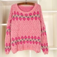 strawberry sweater sweater jumper pink wool strawberry pattern