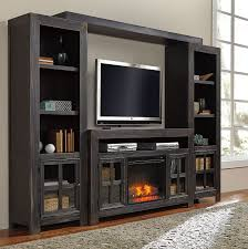 rustic black stained walnut wood tv stand with fireplace insert of