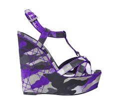 dior purple patent leather and canvas wedge sandal 5 51 inches