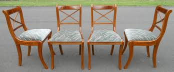 Yew Dining Room Furniture Set Of Four Sabre Leg Yew Dining Chairs