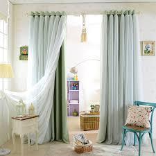 high quality double layer aqua color blackout curtain