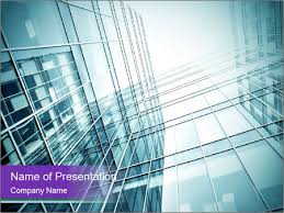 glass office buildings powerpoint template u0026 backgrounds id